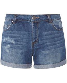 Mid Wash Boyfriend Shorts