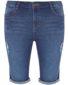Mid Wash Abrasion Denim Knee Shorts
