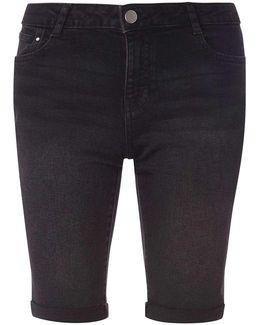 Black Denim Wash Knee Length Shorts