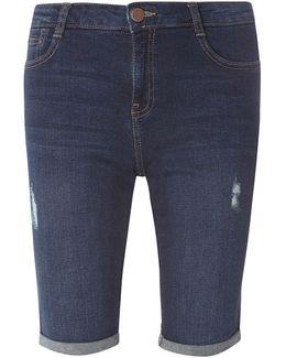 Indigo Abrasion Knee Shorts