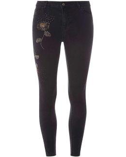Black Beaded Darcy - Ankle Grazer Jeans