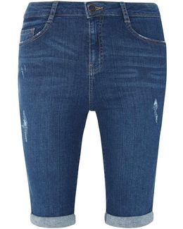 Mid Wash Blue Shaping Knee Shorts