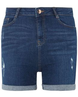 Blue Mid Wash Shaping Shorts