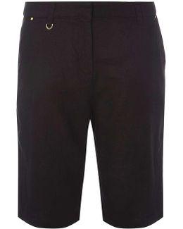Black Linen Knee Shorts