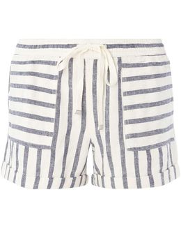 Cream And Navy Stripe Linen Shorts