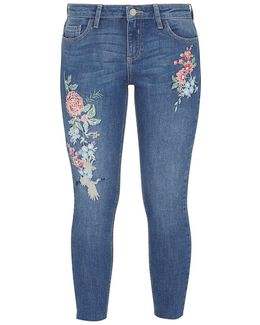 Petite Mid Wash Oriental Embroidered 'darcy' Jeans