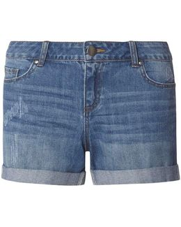 Petite Blue Mid Wash Boyfriend Shorts