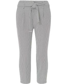 Petite Monochrome Spot Textured Tie Up Trousers
