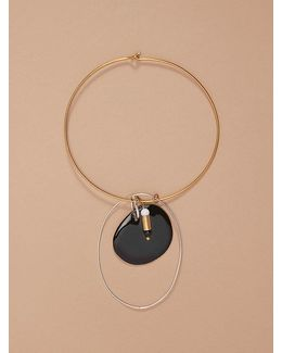 Gold Wire Black Charm Necklace