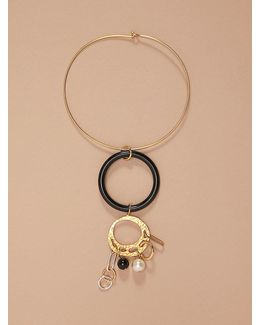 Gold Wire Black Ring Necklace