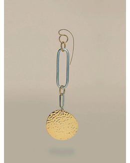 Gold Disc Long Earring