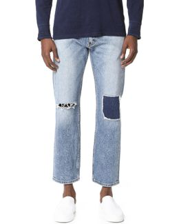 Pieced And Cropped 505 Denim Jeans