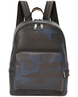 Camo Dot Leather Backpack