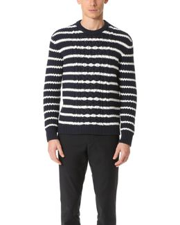 Striped Cable Crew Sweater