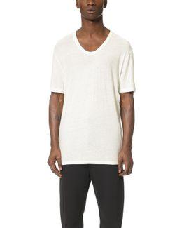Slub Low Neck T-shirt