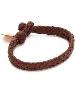 Wide Flat Woven Leather Bracelet
