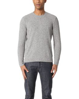 Cotton Boucle Roll Neck Sweater