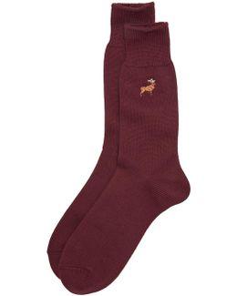 Embroderied Deer Socks