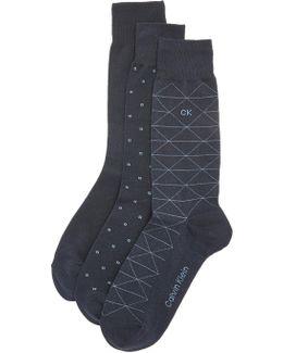 3 Pack Geometric Crew Socks