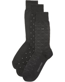 3 Pack Geometric Crew Socks