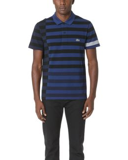 Broken Striped Pique Polo Shirt