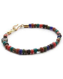 Glass & Brass Bead Bracelet