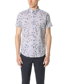 Zack Leaf Print Short Sleeve Button Down Shirt