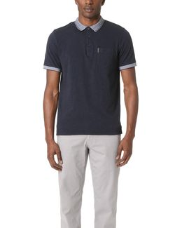 Checkerboard Tip Collar Polo