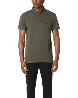 Faux Leather Trim Polo Shirt