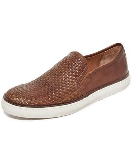 Gates Woven Leather Slip On Sneakers