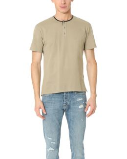 Pique Tee With Faux Leather Detail