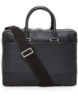 Pebbled Leather Commuter Briefcase