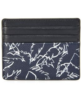 Harrison Palm Print Leather Tall Card Case