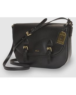 Black Leather Satchel With Buckles