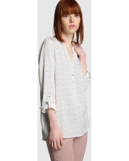 Printed Long-sleeve Blouse