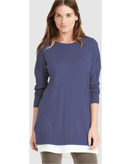 Navy Blue Sweater With Side Vents