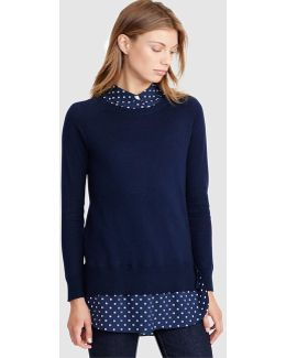 Blue Sweater With A False Inner Shirt