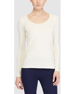 T-shirt With Long Sleeves And A Rounded Neckline