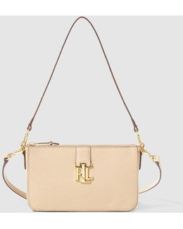 Small Beige Leather Crossbody Bag With Two Detachable Straps