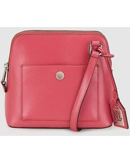 Small Pink Leather Messenger Bag With An Outer Pocket