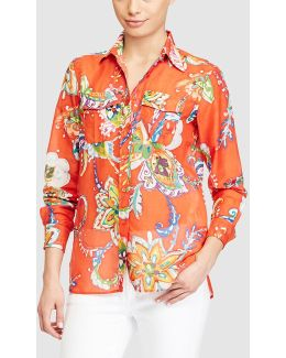 Floral Print Shirt With Breast Pockets