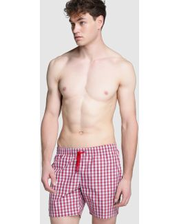 Red Checked Swim Trunks