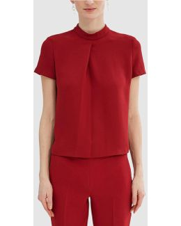 Maroon Blouse With A Polo Neck