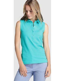 Green Sleeveless Polo Shirt