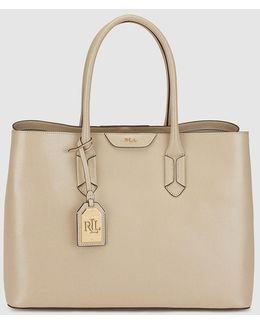 Beige Leather Shoulder Bag With Pendant