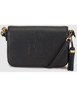 Black Leather Messenger Bag With Side Tassel