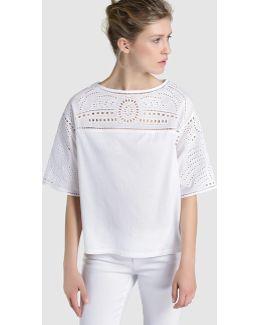 White T-shirt With Openwork Yoke