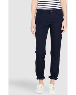 Navy Blue Straight-leg Trousers