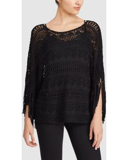 Openwork Knit Sweater With Fringe