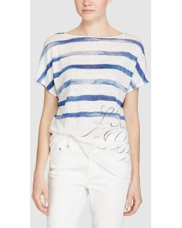 Stripe And Letter Print T-shirt